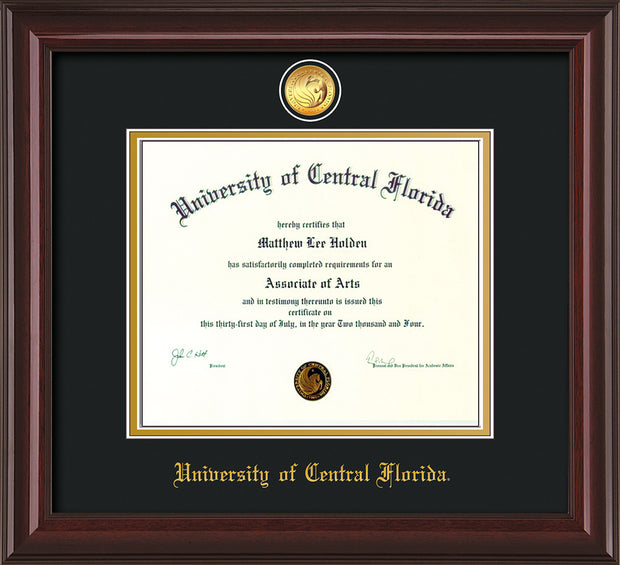 Image of University of Central Florida Diploma Frame - Mahogany Braid - w/24k Gold-Plated Medallion UCF Name Embossing - Black on Gold mats
