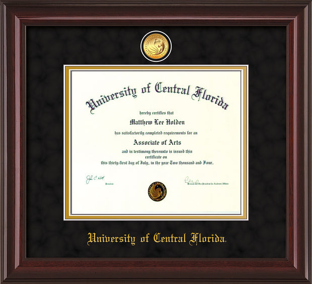 Image of University of Central Florida Diploma Frame - Mahogany Lacquer - w/24k Gold-Plated Medallion UCF Name Embossing - Black Suede on Gold mats