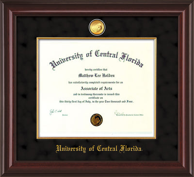 Image of University of Central Florida Diploma Frame - Mahogany Lacquer - w/24k Gold-Plated Medallion & Fillet - w/UCF Name Embossing - Black Suede mat