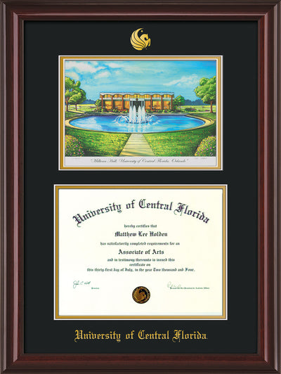 Image of University of Central Florida Diploma Frame - Mahogany Lacquer - w/Embossed UCF Seal & Name - Watercolor - Black on Gold mat