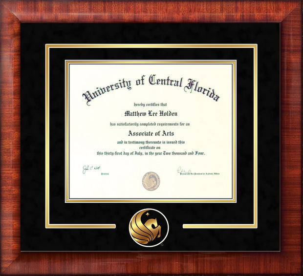 Image of University of Central Florida Diploma Frame - Mezzo Gloss - 3D Laser Pegasus Logo Cutout - Black Suede on Gold mat