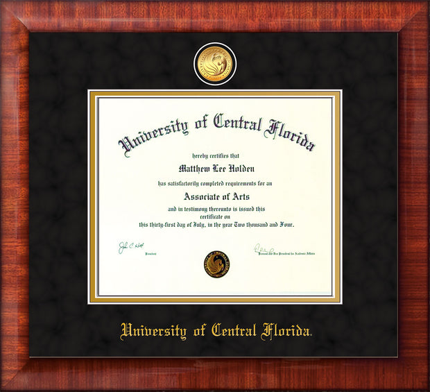 Image of University of Central Florida Diploma Frame - Mezzo Gloss - w/24k Gold-Plated Medallion UCF Name Embossing - Black Suede on Gold mats