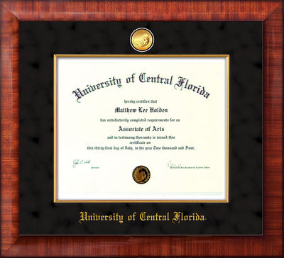 Image of University of Central Florida Diploma Frame - Mezzo Gloss - w/24k Gold-Plated Medallion & Fillet - w/UCF Name Embossing - Black Suede mat