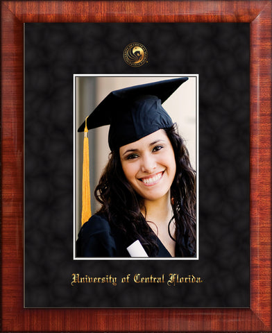 Image of University of Central Florida 5 x 7 Photo Frame - Mezzo Gloss - w/Official Embossing of UCF Seal & Name - Single Black Suede mat