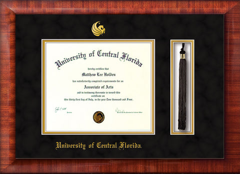 Image of University of Central Florida Diploma Frame - Mezzo Gloss - w/Embossed UCF Seal & Name - Tassel Holder - Black Suede on Gold mat