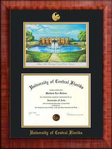 Image of University of Central Florida Diploma Frame - Mezzo Gloss - w/Embossed UCF Seal & Name - Watercolor - Black on Gold mat