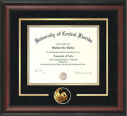 University of Central Florida Diploma Frame - Rosewood - 3D Laser Pegasus Logo Cutout - Black Suede on Gold mat