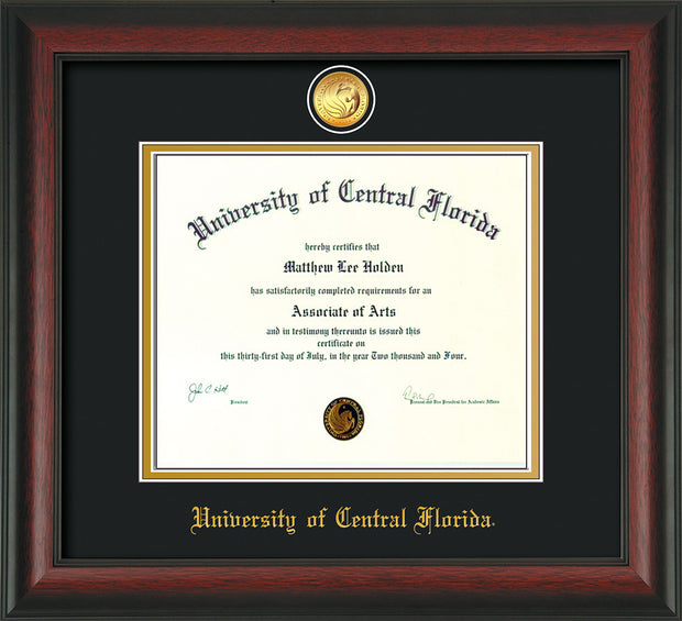 Image of University of Central Florida Diploma Frame - Rosewood - w/24k Gold-Plated Medallion UCF Name Embossing - Black on Gold mats