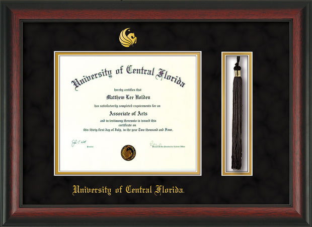 Image of University of Central Florida Diploma Frame - Rosewood - w/Embossed UCF Seal & Name - Tassel Holder - Black Suede on Gold mat
