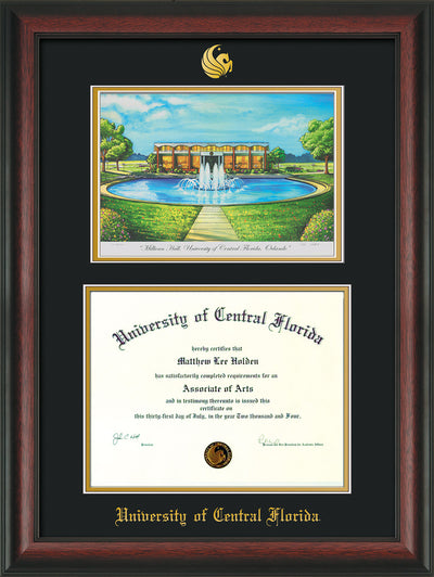 Image of University of Central Florida Diploma Frame - Rosewood - w/Embossed UCF Seal & Name - Watercolor - Black on Gold mat