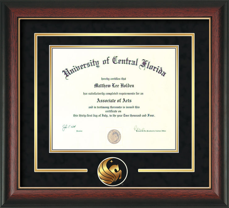 University of Central Florida Diploma Frame - Rosewood w/Gold Lip - 3D Laser Pegasus Logo Cutout - Black Suede on Gold mat