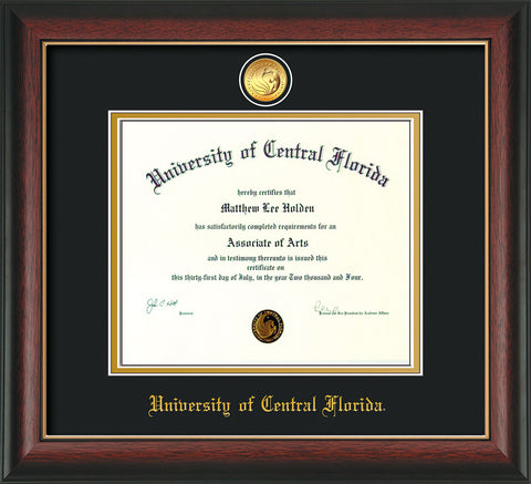 Image of University of Central Florida Diploma Frame - Rosewood w/Gold Lip - w/24k Gold-Plated Medallion UCF Name Embossing - Black on Gold mats