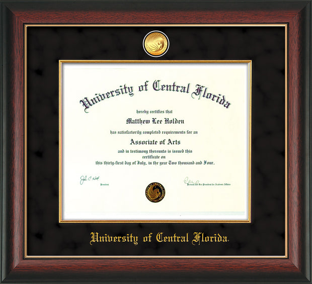 Image of University of Central Florida Diploma Frame - Rosewood w/Gold Lip - w/24k Gold-Plated Medallion & Fillet - w/UCF Name Embossing - Black Suede mat
