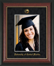 University of Central Florida 5 x 7 Photo Frame - Rosewood w/Gold Lip - w/Official Embossing of UCF Seal & Name - Single Black Suede mat