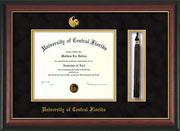Image of University of Central Florida Diploma Frame - Rosewood w/Gold Lip - w/Embossed UCF Seal & Name - Tassel Holder - Black Suede on Gold mat