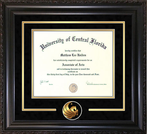 Image of University of Central Florida Diploma Frame - Vintage Black Scoop - 3D Laser Pegasus Logo Cutout - Black Suede on Gold mat