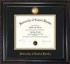 Image of University of Central Florida Diploma Frame - Vintage Black Scoop - w/24k Gold-Plated Medallion UCF Name Embossing - Black on Gold mats