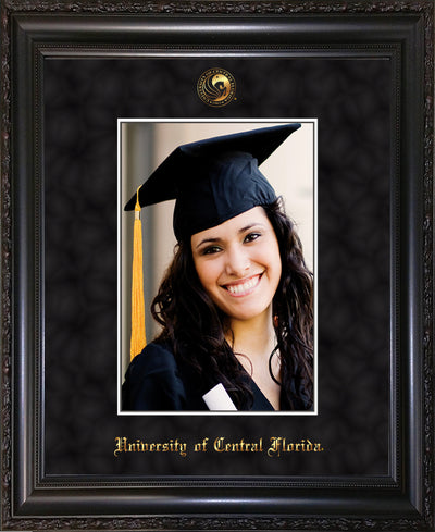Image of versity of Central Florida 5 x 7 Photo Frame - Vintage Black Scoop - w/Official Embossing of UCF Seal & Name - Single Black Suede mat