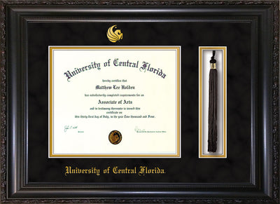 Image of University of Central Florida Diploma Frame - Vintage Black Scoop - w/Embossed UCF Seal & Name - Tassel Holder - Black Suede on Gold mat
