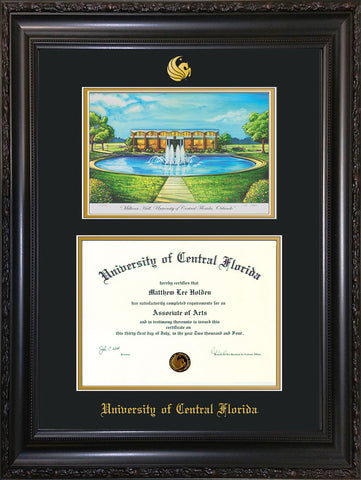 Image of University of Central Florida Diploma Frame - Rosewood w/Gold Lip - w/Embossed UCF Seal & Name - Watercolor - Black on Gold mat