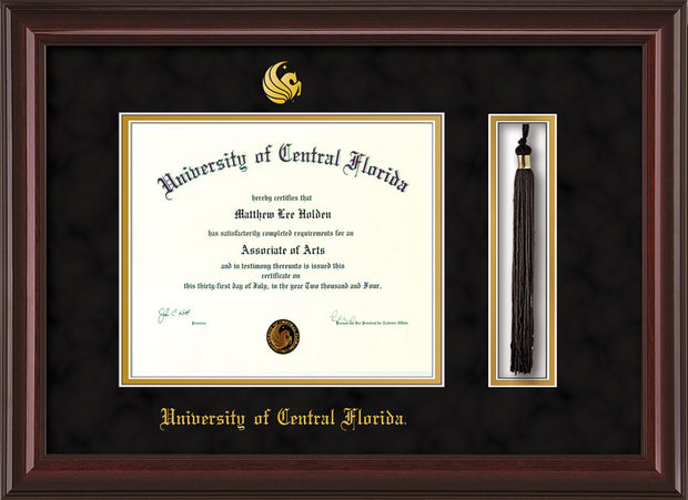 Image of University of Central Florida Diploma Frame - Mahogany Lacquer - w/Embossed UCF Seal & Name - Tassel Holder - Black Suede on Gold mat