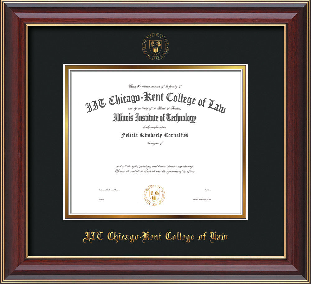 Chicago-Kent Law Diploma Frame-Cherry Lacquer-w/Seal-Museum Glass ...