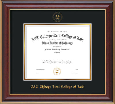 Image of Chicago-Kent College of Law Diploma Frame - Cherry Lacquer - w/Embossed CKCL Seal & Name - UV Glass - Black on Gold mat