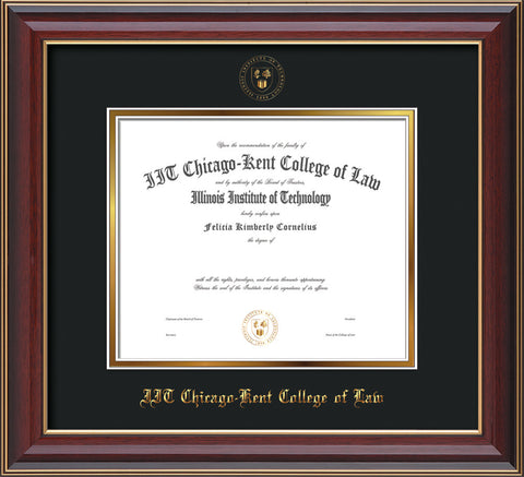 Image of Chicago-Kent College of Law Diploma Frame - Cherry Lacquer - w/Embossed CKCL Seal & Name - Museum Glass - Black on Gold mat