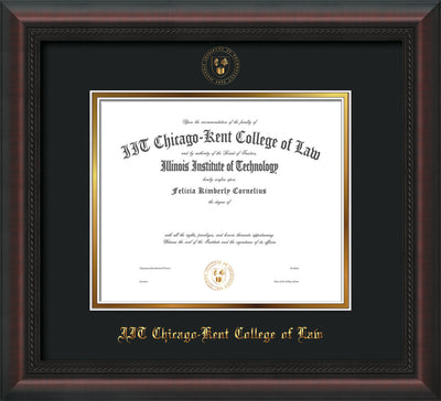 Image of Chicago-Kent College of Law Diploma Frame - Mahogany Braid - w/Embossed CKCL Seal & Name - UV Glass - Black on Gold mat
