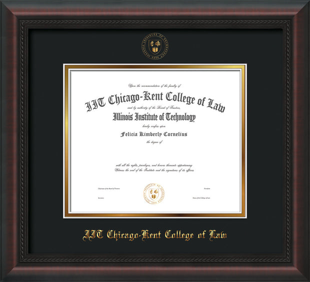 Image of Chicago-Kent College of Law Diploma Frame - Mahogany Braid - w/Embossed CKCL Seal & Name - Museum Glass - Black on Gold mat