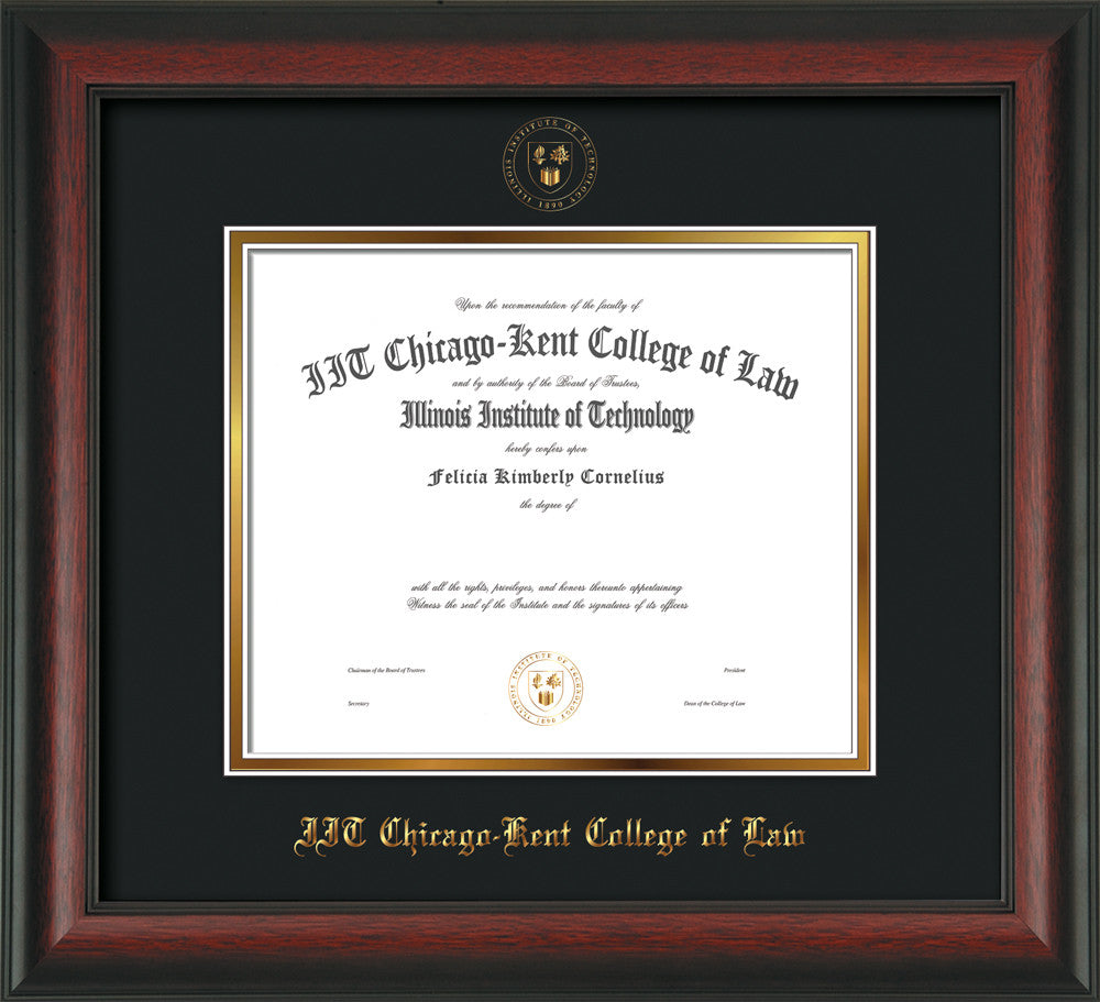 Chicago-Kent Law Diploma Frame-Mahogany Braid-w/Seal-Black on Gold ...
