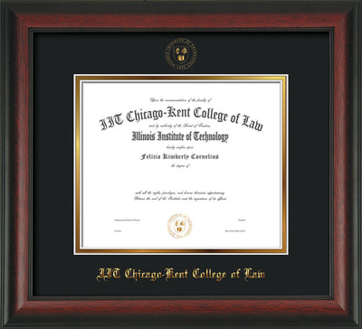 Image of Chicago-Kent College of Law Diploma Frame - Rosewood - w/Embossed CKCL Seal & Name - Museum Glass - Black on Gold mat
