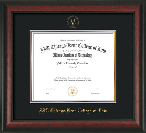 Image of Chicago-Kent College of Law Diploma Frame - Rosewood - w/Embossed CKCL Seal & Name - UV Glass - Black on Gold mat