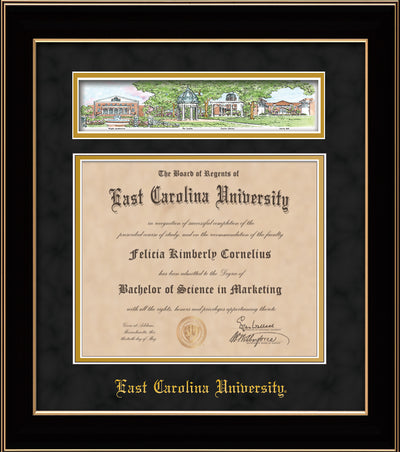 Image of East Carolina University Diploma Frame - Black Lacquer - w/Embossed School Name Only - Campus Collage - Black Suede on Gold mat
