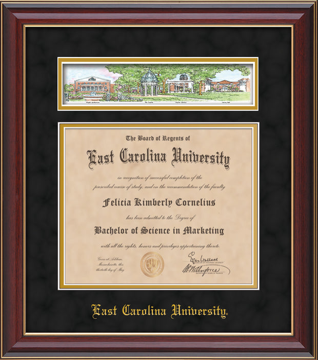 Image of East Carolina University Diploma Frame - Cherry Lacquer - w/Embossed School Name Only - Campus Collage - Black Suede on Gold mat