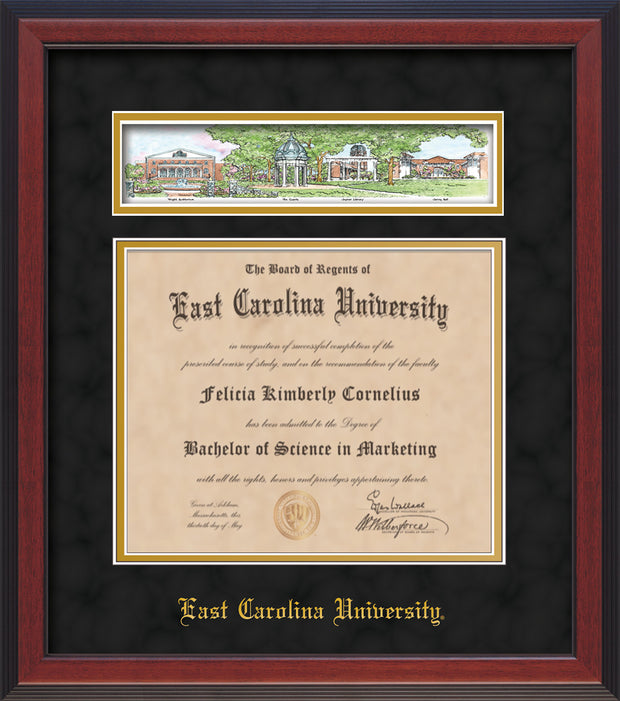 Image of East Carolina University Diploma Frame - Cherry Reverse - w/Embossed School Name Only - Campus Collage - Black Suede on Gold mat