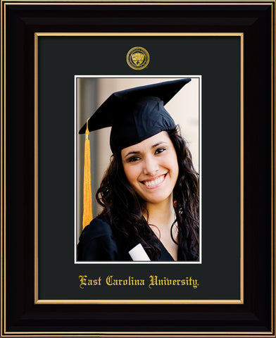 Image of East Carolina University 5 x 7 Photo Frame - Black Lacquer - w/Official Embossing of ECU Seal & Name - Single Black mat