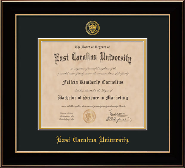 Image of East Carolina University Diploma Frame - Black Lacquer - w/Embossed ECU Seal & Name - Black on Gold mats