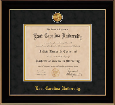 Image of East Carolina University Diploma Frame - Black Lacquer - w/24k Gold-Plated Medallion ECU Name Embossing - Black Suede on Gold mats