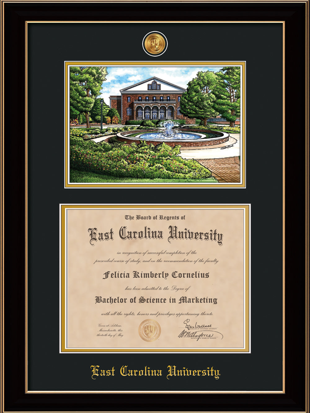 Ecu Diploma Frame Rose Gold Lip W Watercolor Black