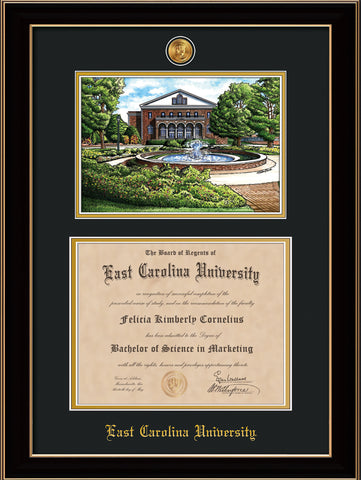 Image of East Carolina University Diploma Frame - Black Lacquer - w/24k Gold-Plated Medallion ECU Name Embossing - Watercolor - Black on Gold mats
