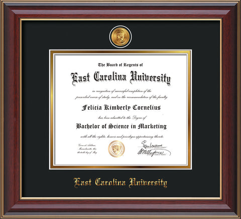 Image of East Carolina University Diploma Frame - Cherry Lacquer - w/24k Gold-Plated Medallion ECU Name Embossing - Black on Gold mats