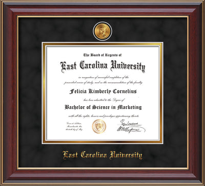 Image of East Carolina University Diploma Frame - Cherry Lacquer - w/24k Gold-Plated Medallion ECU Name Embossing - Black Suede on Gold mats