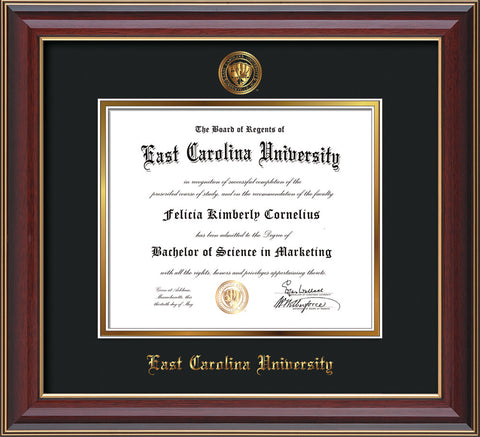 Image of East Carolina University Diploma Frame - Cherry Lacquer - w/Embossed ECU Seal & Name - Black on Gold mats