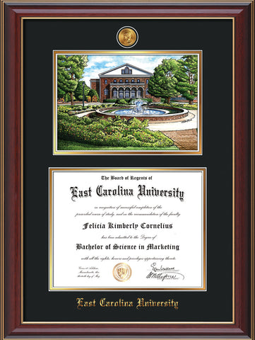 Image of East Carolina University Diploma Frame - Cherry Lacquer - w/24k Gold-Plated Medallion ECU Name Embossing - Watercolor - Black on Gold mats