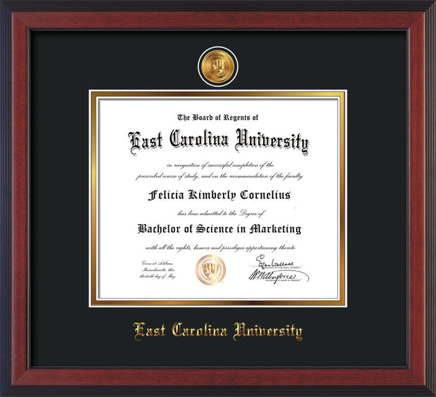 Image of East Carolina University Diploma Frame - Cherry Reverse - w/24k Gold-Plated Medallion ECU Name Embossing - Black on Gold mats