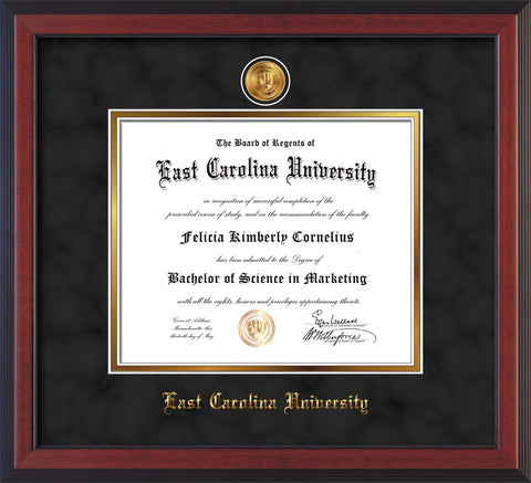 Image of East Carolina University Diploma Frame - Cherry Reverse - w/24k Gold-Plated Medallion ECU Name Embossing - Black Suede on Gold mats