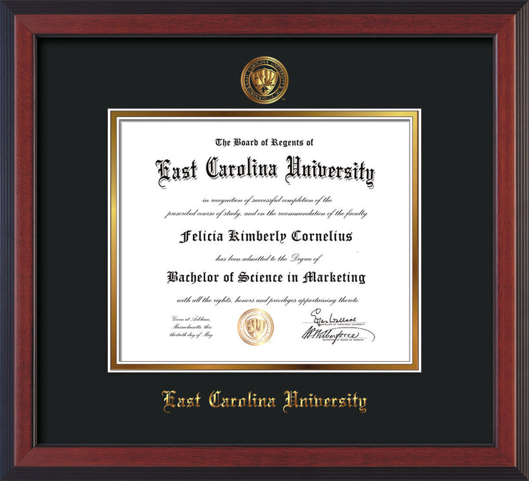 Image of East Carolina University Diploma Frame - Cherry Reverse - w/Official Embossing of ECU Seal & Name - Black on Gold mats