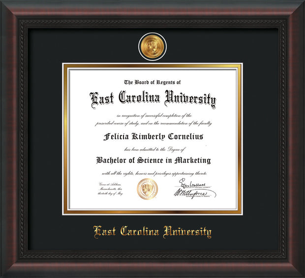 Image of East Carolina University Diploma Frame - Mahogany Braid - w/24k Gold-Plated Medallion ECU Name Embossing - Black on Gold mats