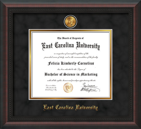 Image of East Carolina University Diploma Frame - Mahogany Braid - w/24k Gold-Plated Medallion ECU Name Embossing - Black Suede on Gold mats